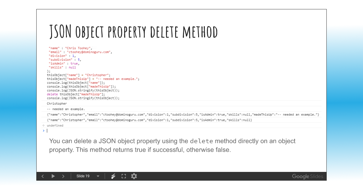 Course Unit Slidedeck: JSON Objects and Arrays - Intro to JavaScript